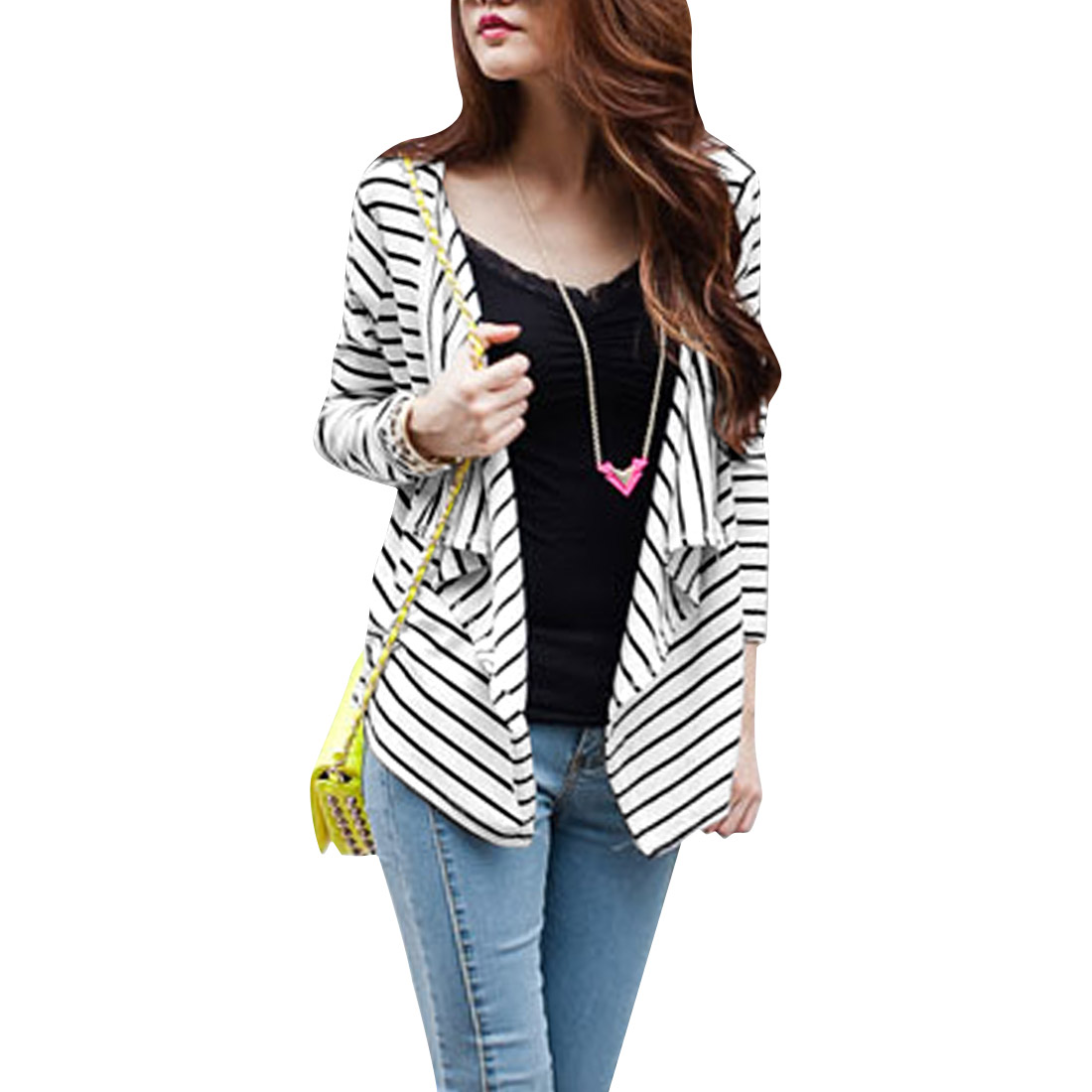 Ladies Long Sleeve Open Front High Low Hem Fashion Black White Srtipes Cardigan S