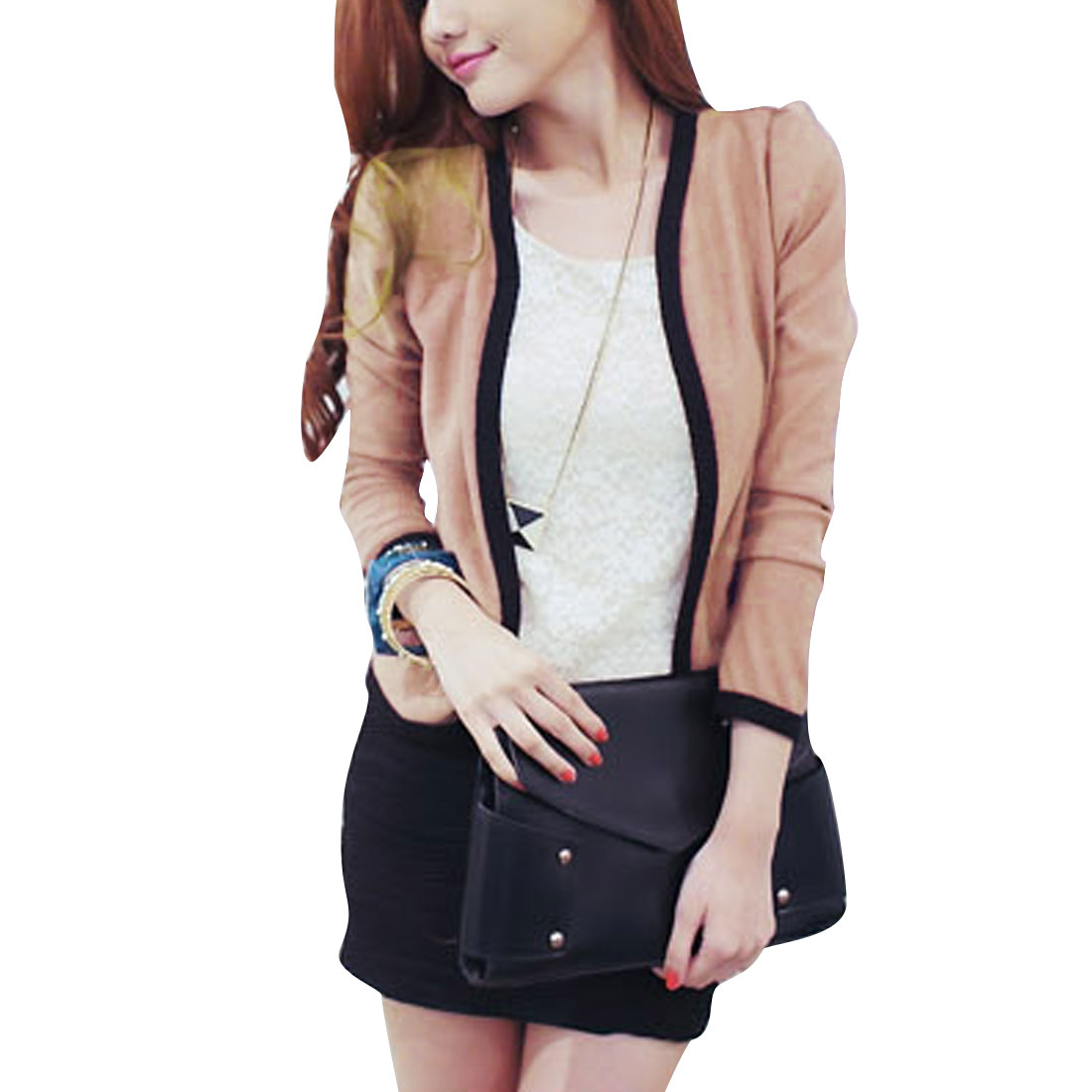 Women's Front Opening Stylish Long Puff Sleeves Pale Pink S Blazer Jacket
