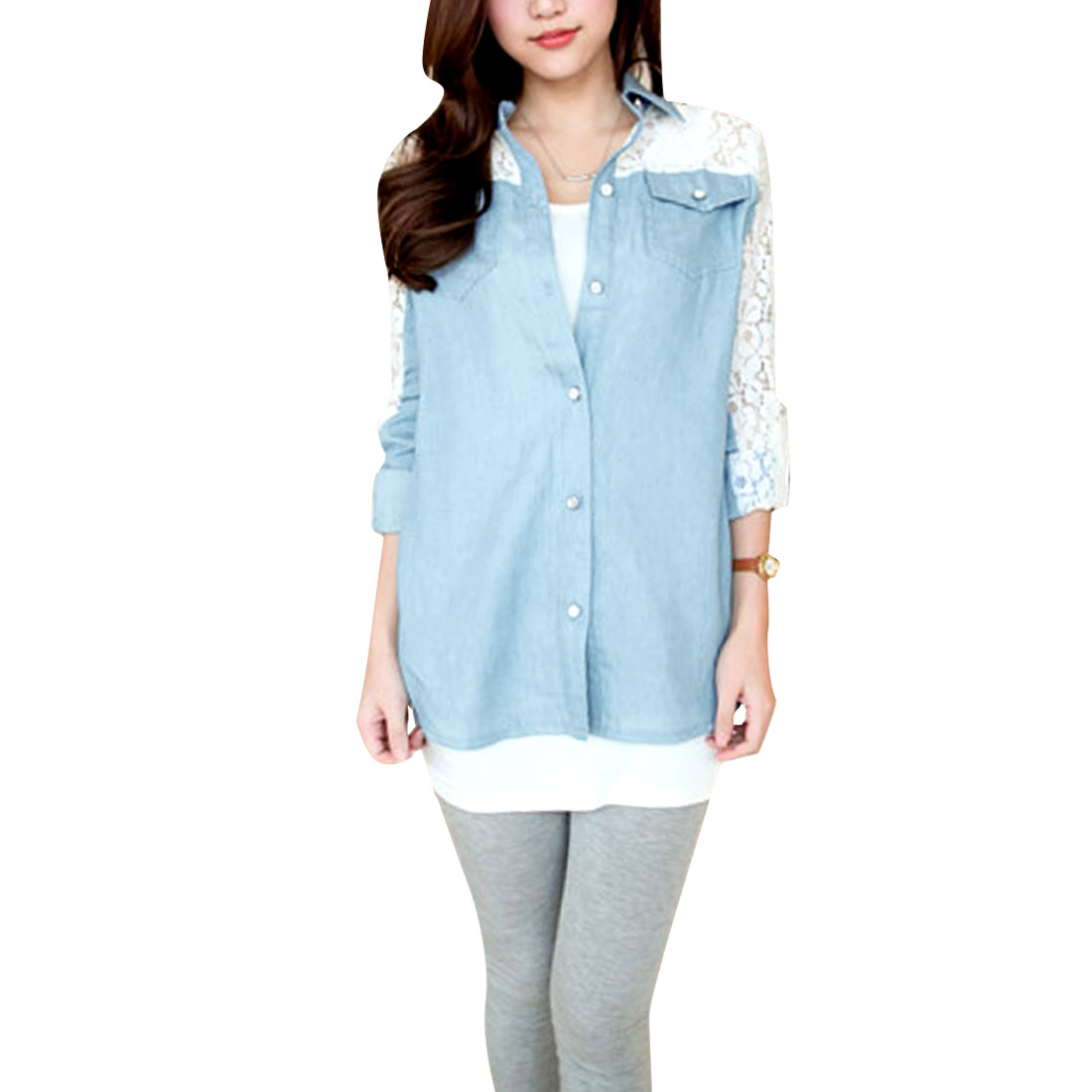 Women's Point Collar Long Semi-sheer Sleeves Pocket Fashion Blue Blouse S