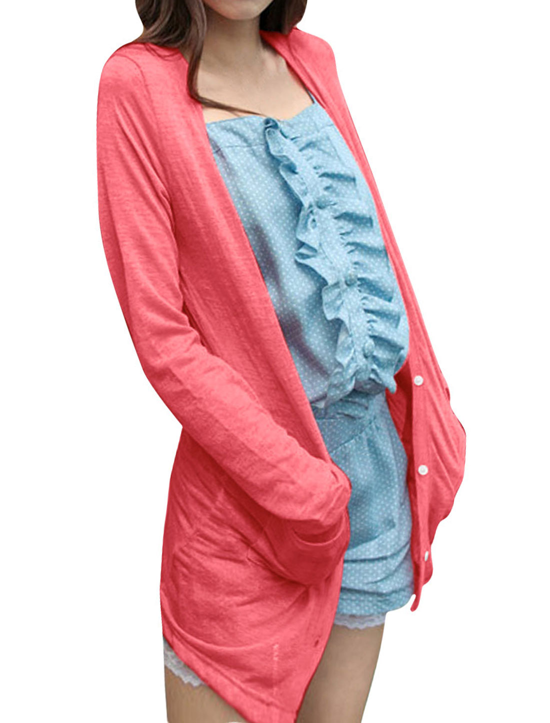 Women Long Sleeve Pockets Front Cardigan Watermelon Red XS