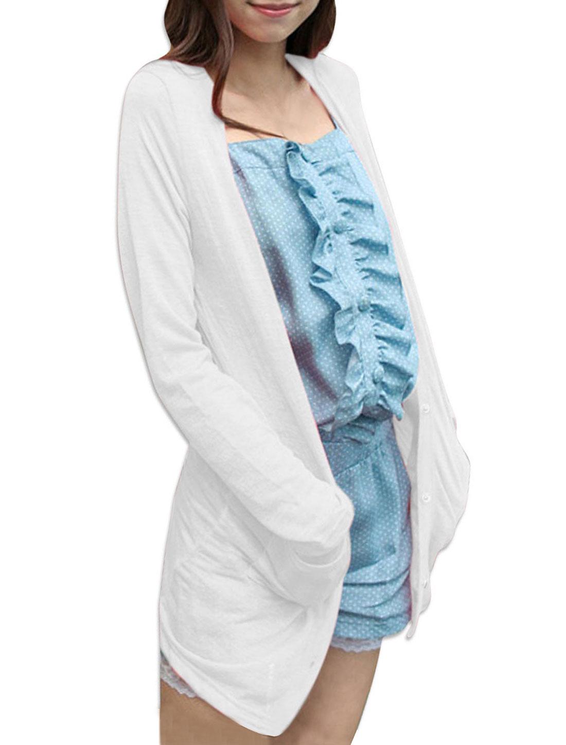 Women Button Front Pockets Summer Cardigan White XS
