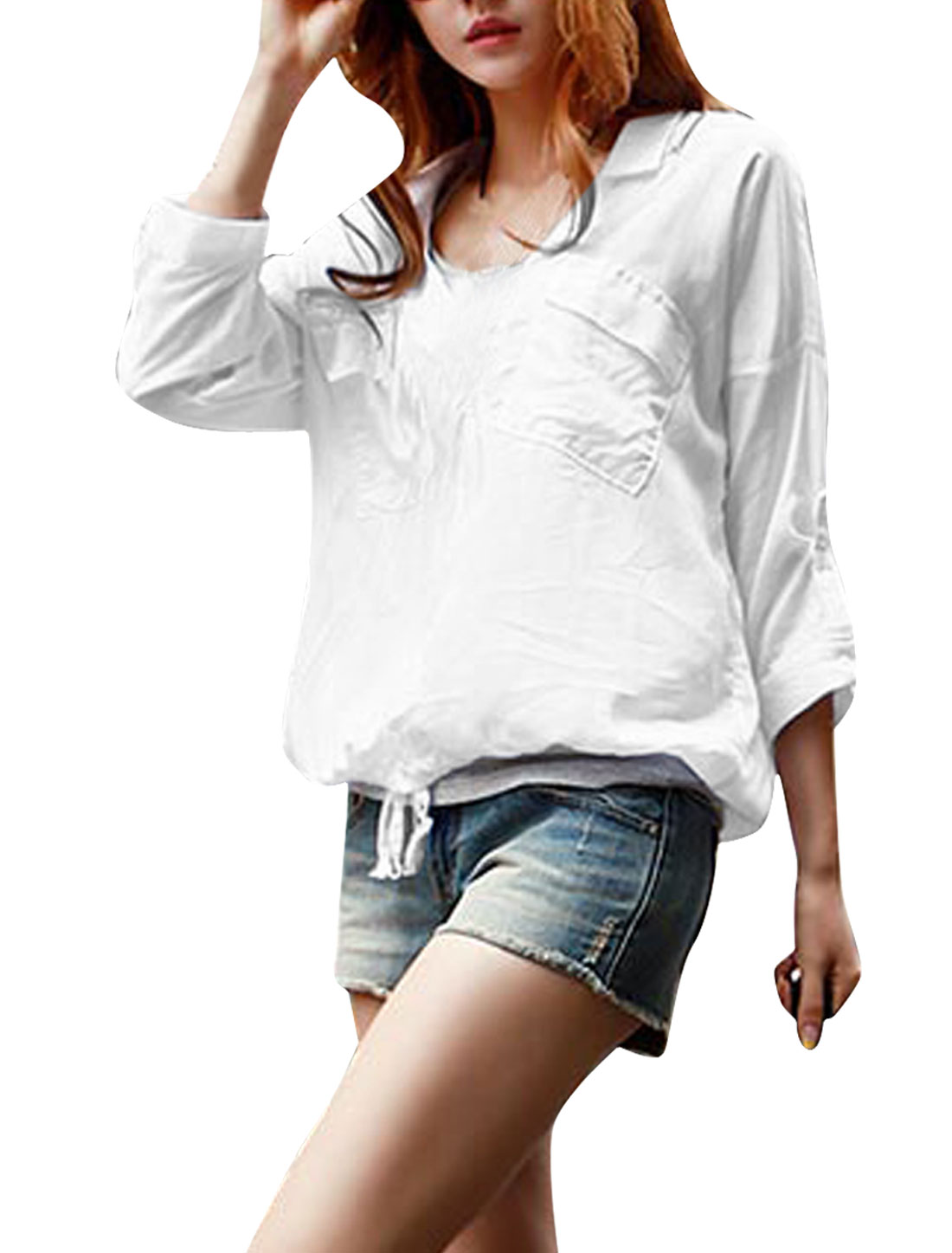 Women Deep V Neck Roll Up Sleeve Pockets Top Shirt White S