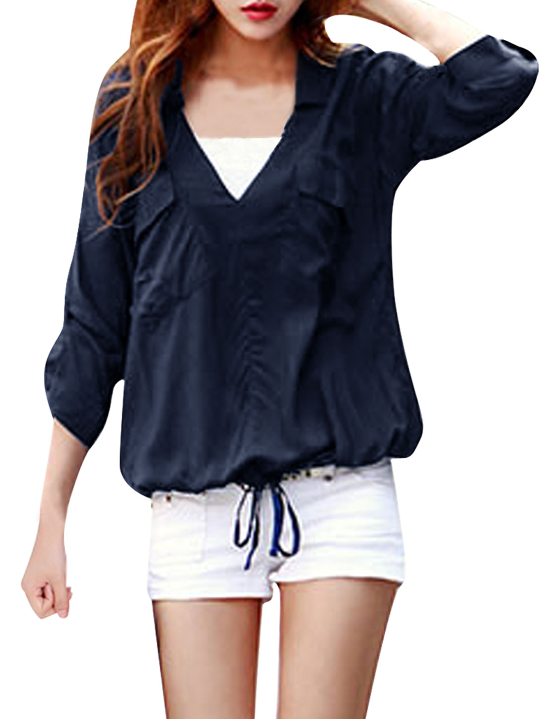Women Roll Up Sleeve Drawstring Top Shirt Navy Blue S
