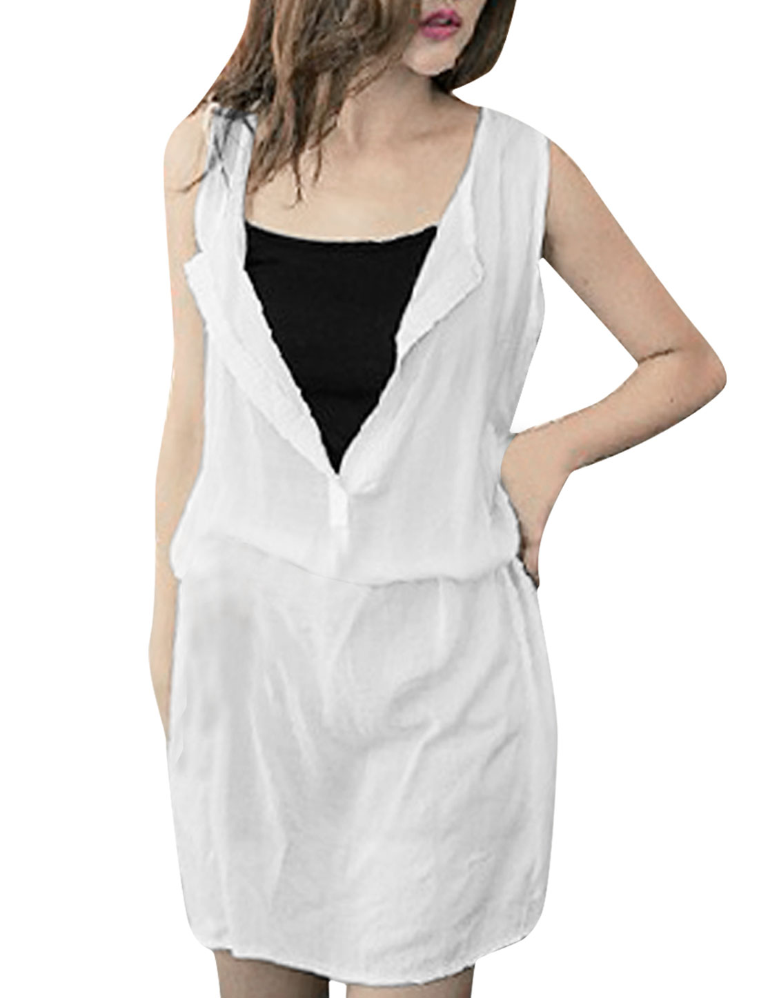Women White XS Spaghetti Straps Tank Top w Deep V Neck Casual Dress