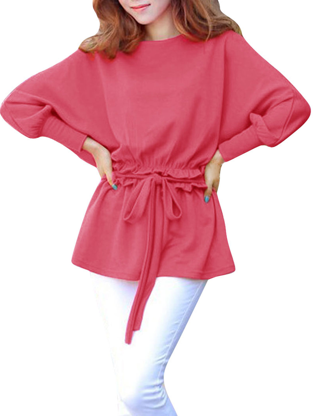 Women Boat Neck Pullover Ruched Detail Blouse Watermelon Red S