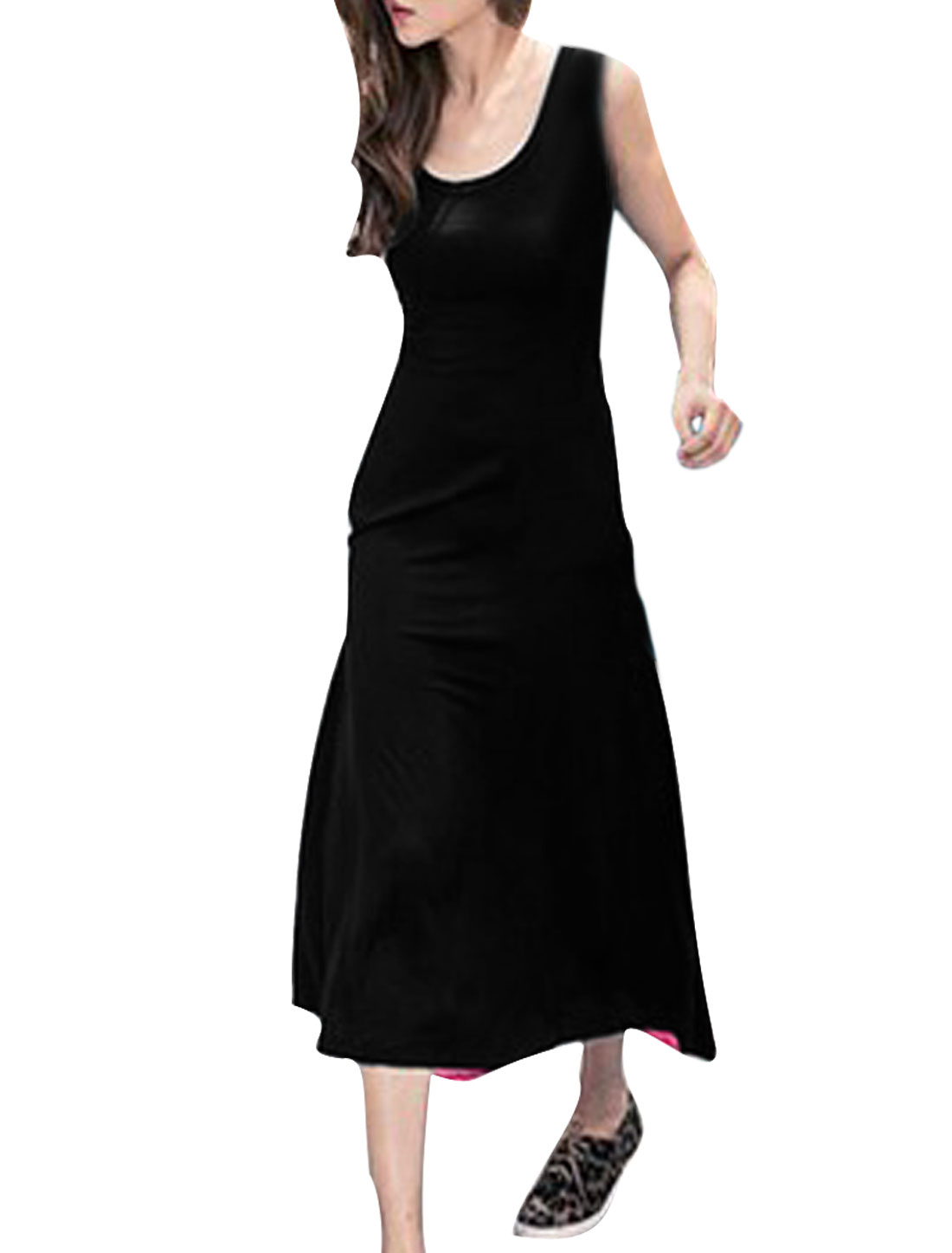 Women Black Fuchsia XS Sleeveless Design Round Neck Panel Two Tone Dress