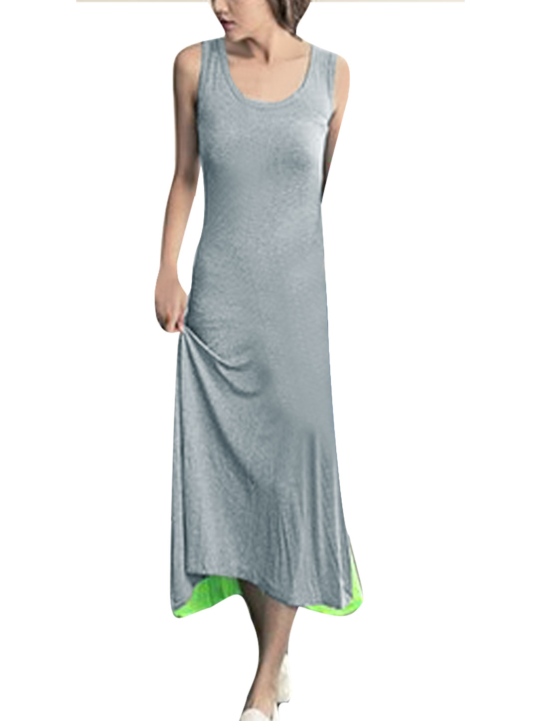 Lime Grey XS Round Neck Color Block Pullover Style Stylish Women Maxi Dress