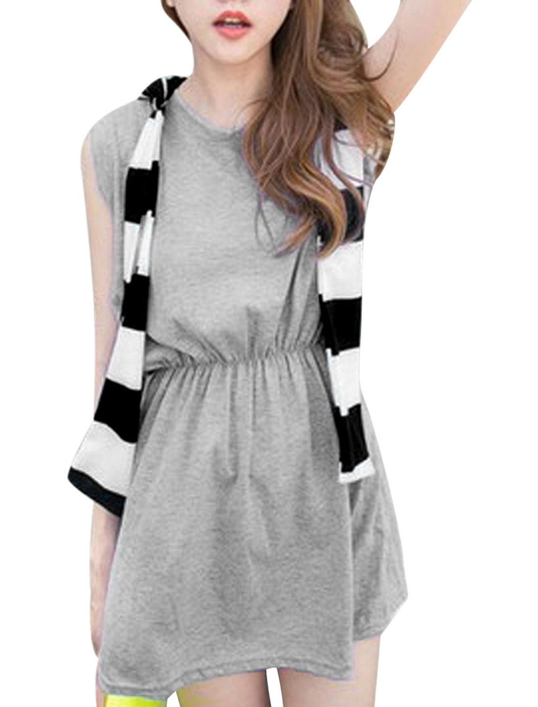 Women's Round Neck Layered Design Elastic Waist Gray XS Gray Dress