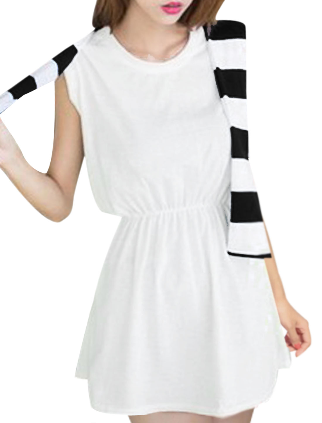 Women's Round Neck Sleeveless Fake Two Pieces Elastic Waist White XS Dress