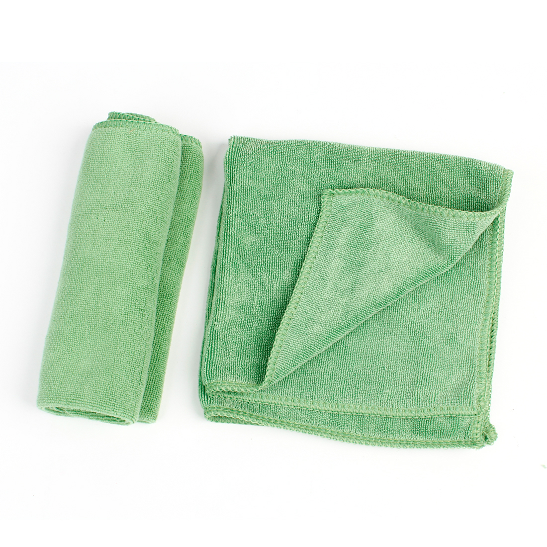 2pcs Green Rectangle Soft Microfiber Window Cleaning Towel 34cm x 34cm for Car