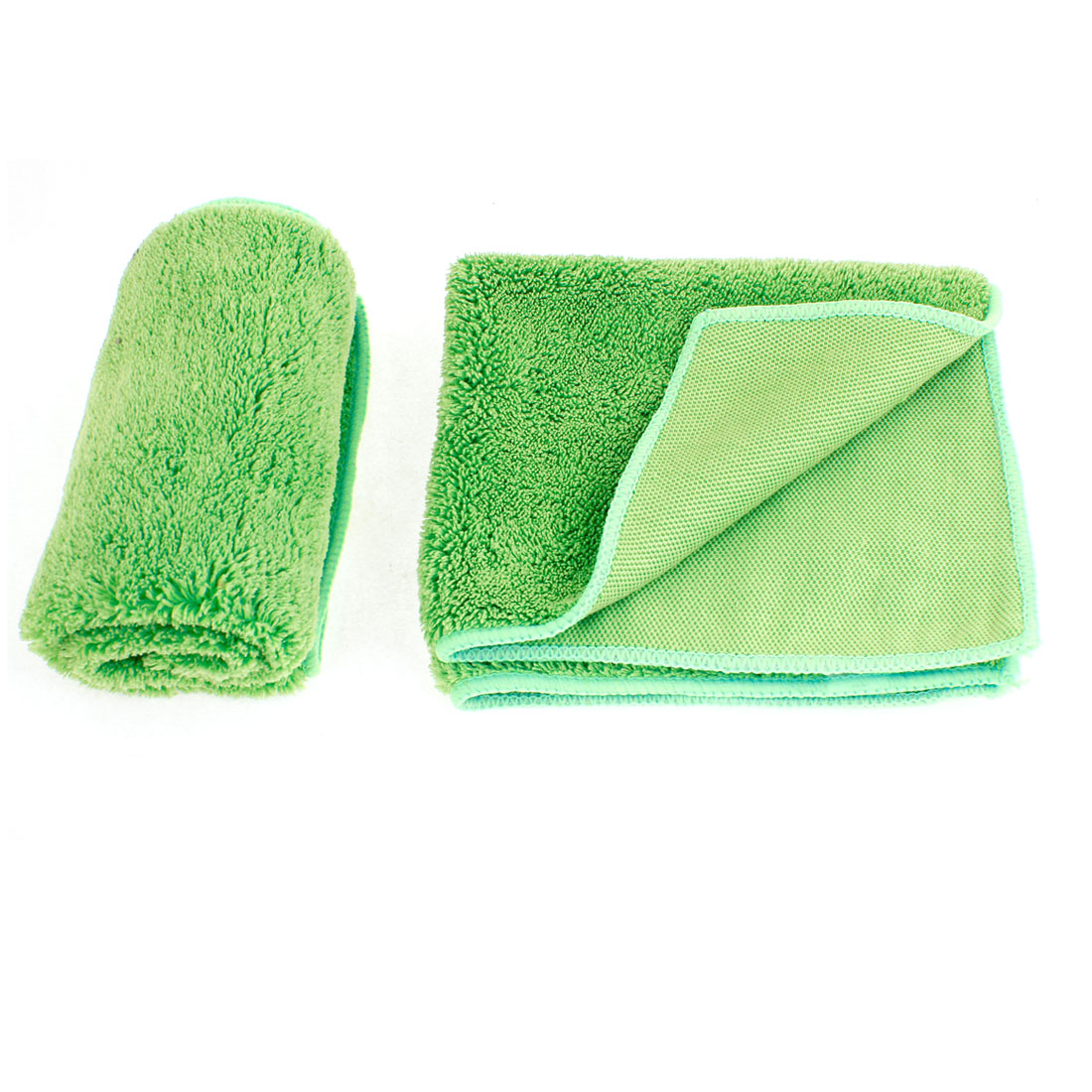 "2 x Household Light Green Microfiber Car Washing Cleaning Towel 13.8"" x 12.6"""