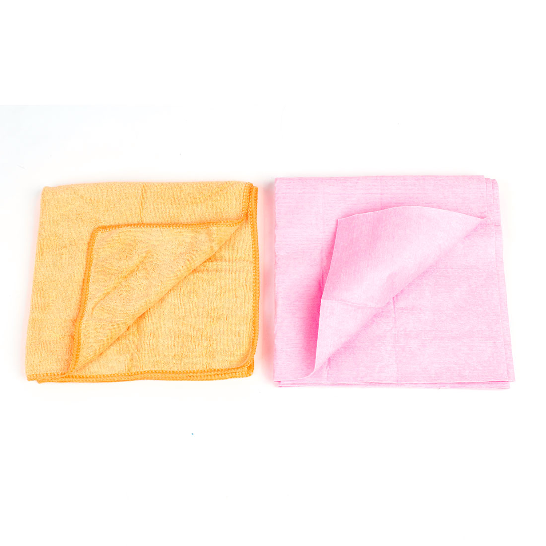 2 in 1 Car Washing Care Rectangle Pink Soft Cloth w Washing Towel Cleaner Orange