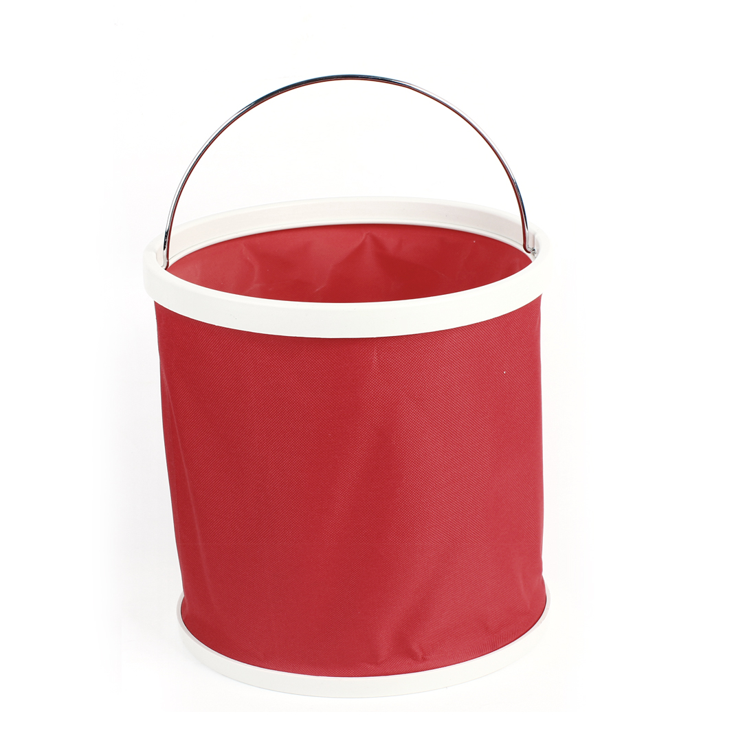 21.5cm Height Camping Fishing Foldable Red Nylon Water Fish Bucket Holder