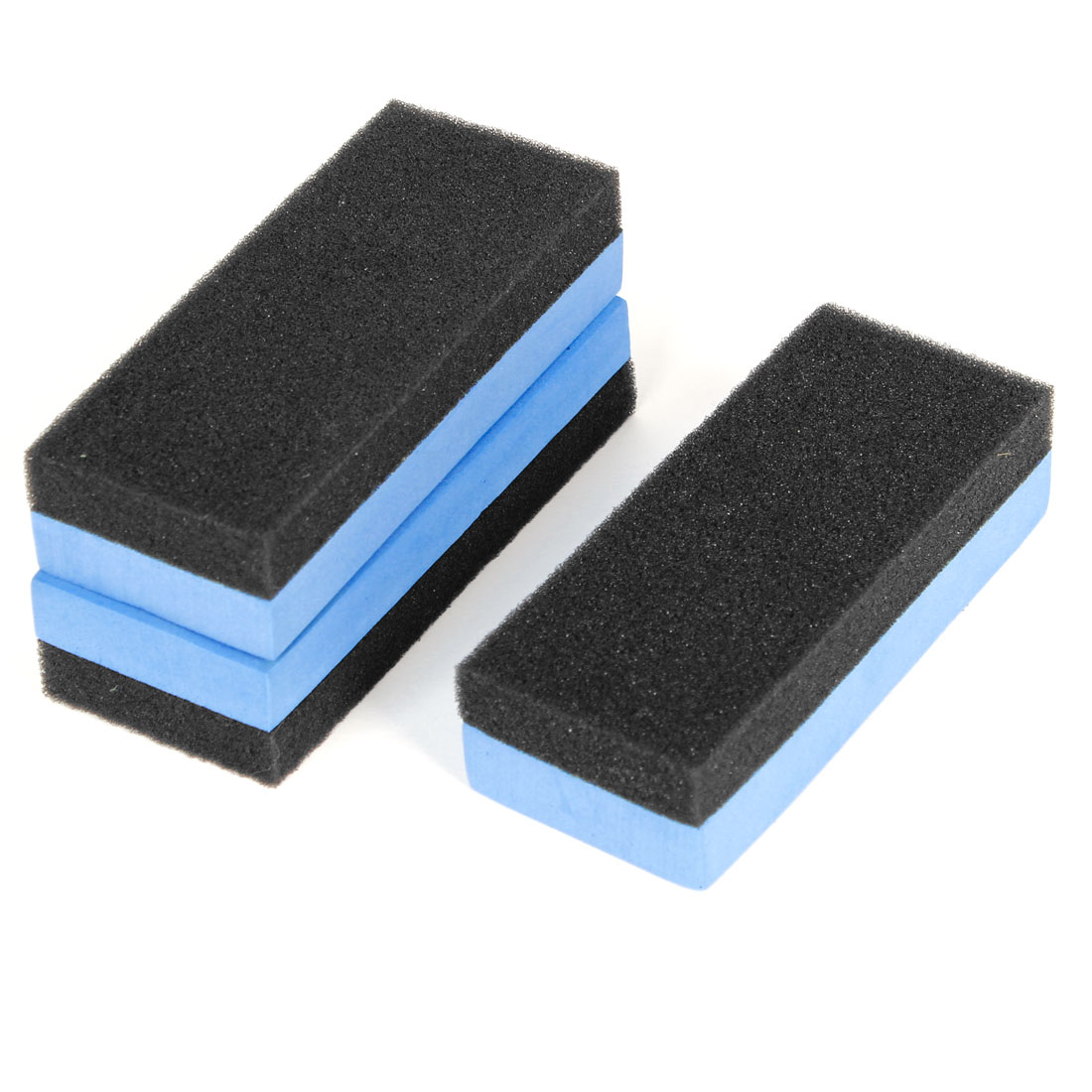 3PCS Auto Car Cube Waxing Sponge Foam Polishing Pad Blue Black 13cmx5.5cmx3cm