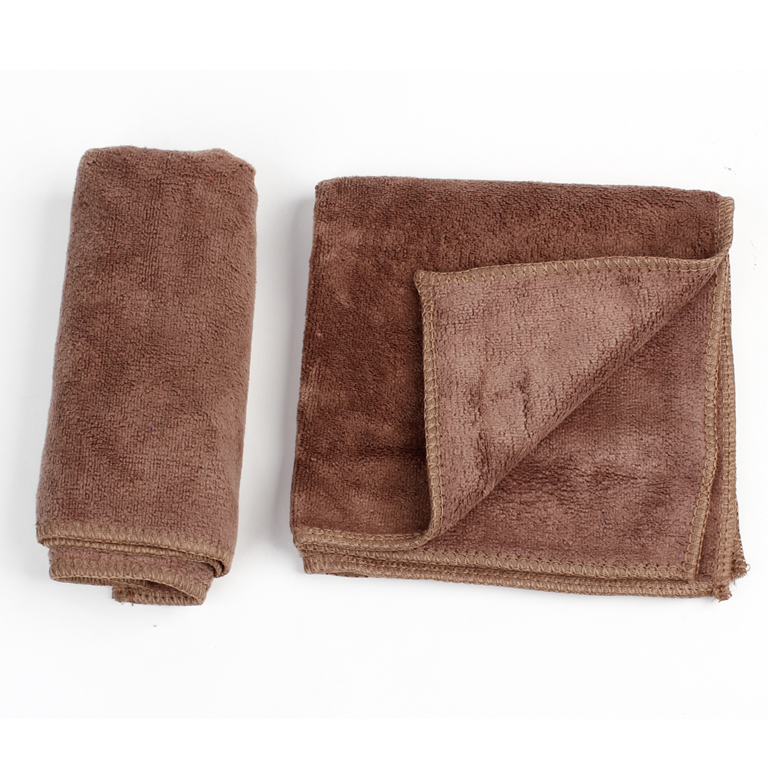 2pcs 32cmx32cm Coffee Color Microfiber Car Interior Faux Leather Cleaning Towel