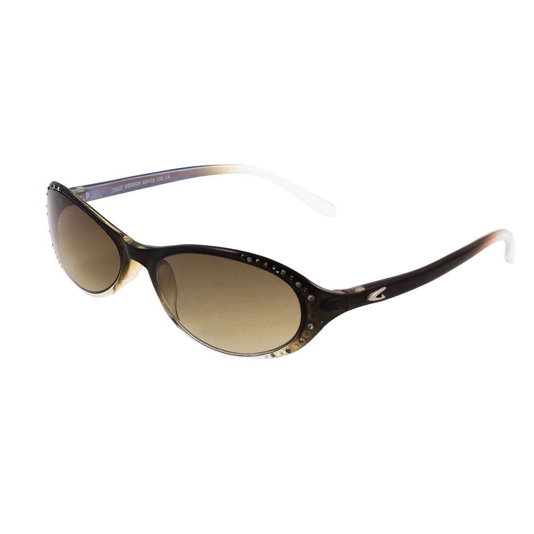 Women Full Frame Light Brown Colored Lens Single Bridge Plastic Sunglasses