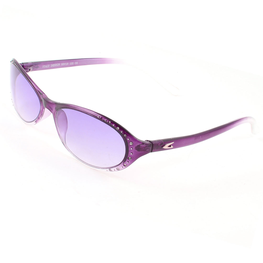 Purple Plastic Frame Full Rim Single Bridge Sunglasses for Women