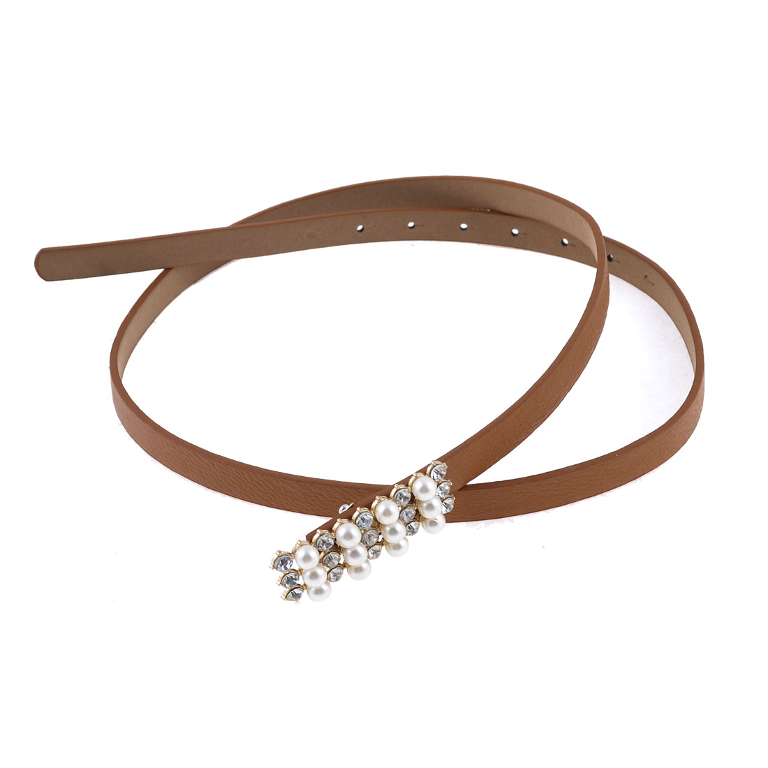 Women Plastic Rhinestone Decor Interlocking Buckle Slender Waist Belt Brown