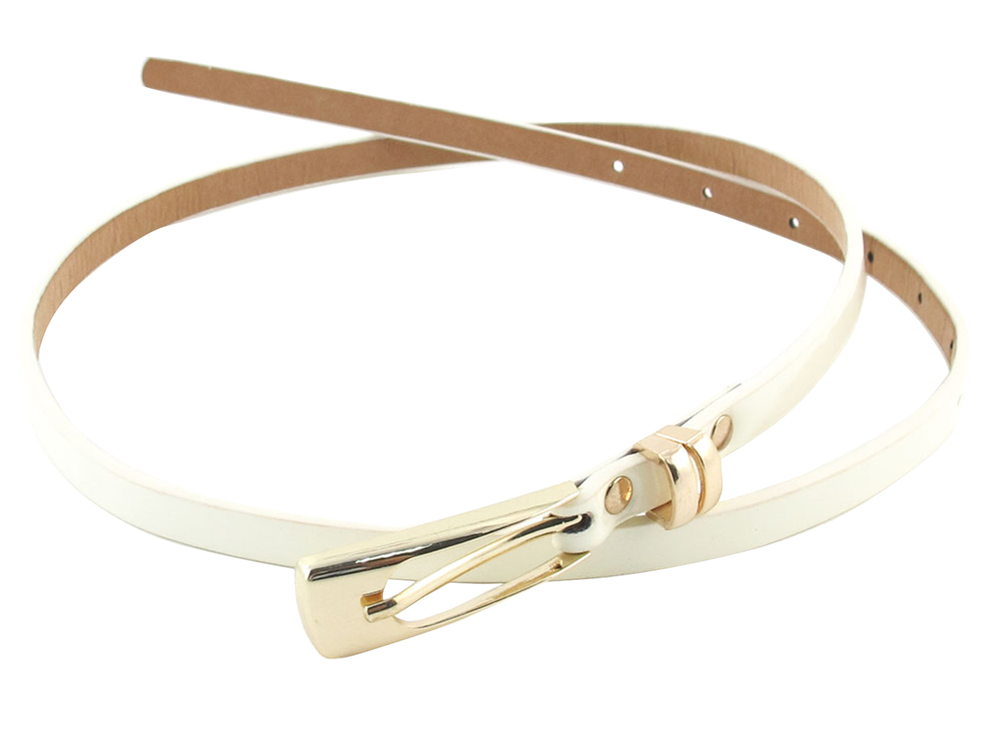 Single Pin Metal Buckle Off White Faux Leather Waist Belt for Lady