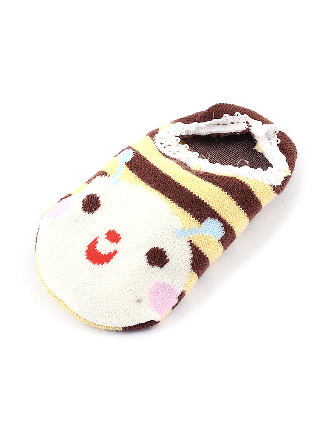 Baby Elastic Cuff Stripes Print Anti-Skid Breathable Toddler Socks Yellow Brown