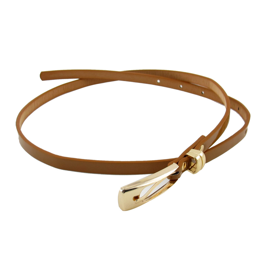 Single Pin Metal Buckle Coffee Color Faux Leather Waist Belt for Lady
