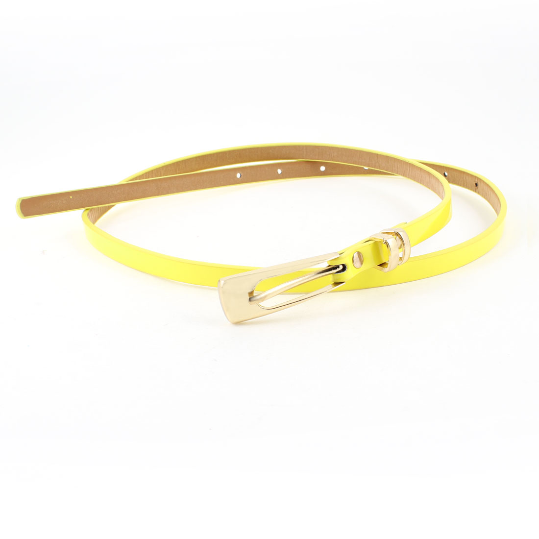 Ladies Adjustable Seven Holes Perforated Slim Belt Waistband Yellow