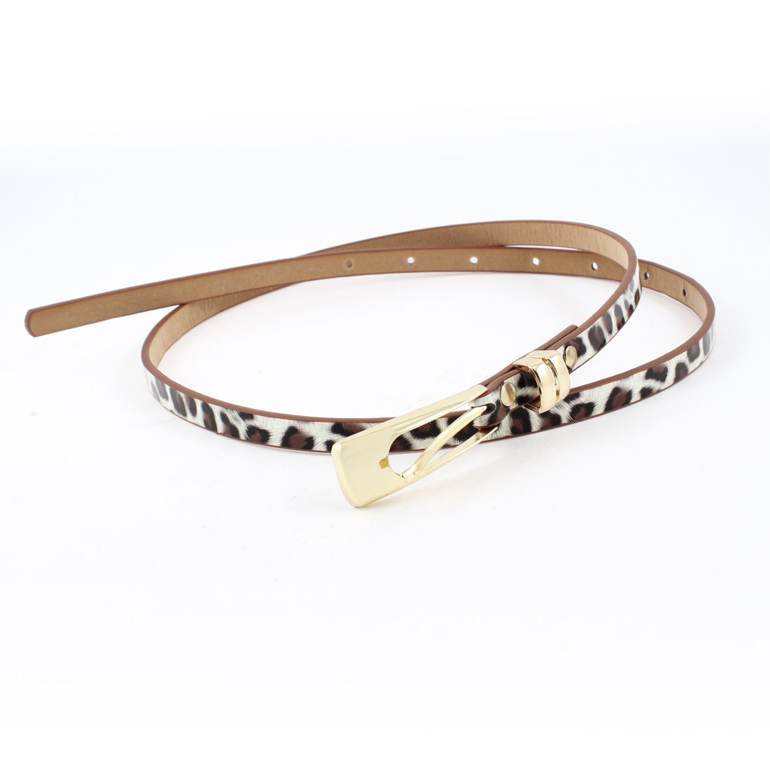 Woman Adjustable Brown White Faux Leather Leopard Pattern Slim Belt Waistbelt