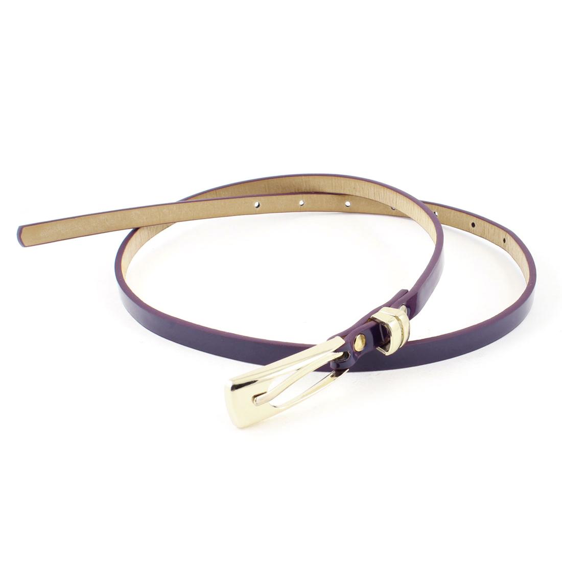 Adjustable Design Metal Single Prong Buckle Slim Belt Purple for Woman