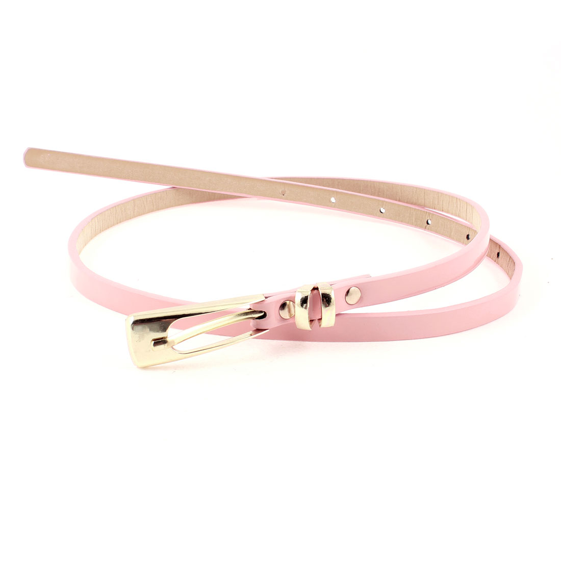 Woman Single Pin Buckle Pale Pink Faux Leather Skinny Waist Belt