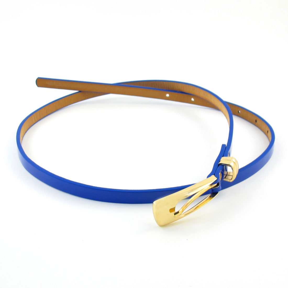 Ladies Blue Faux Leather Metallic Single Prong Buckle Waistbelt