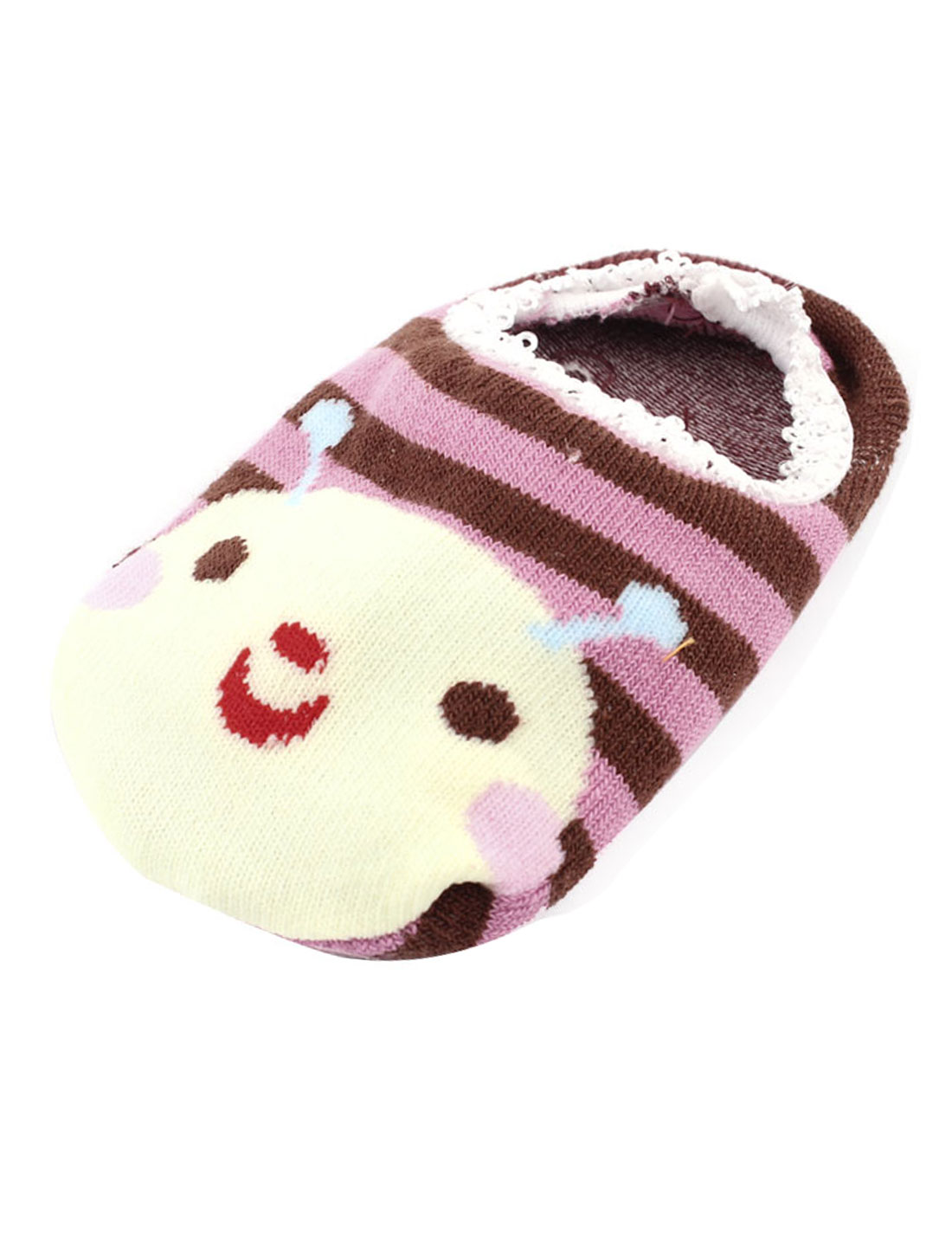 Laciness Cartoon Rabbit Print Baby Toddler Non-Slip Ankle Boat Socks Pink Brown
