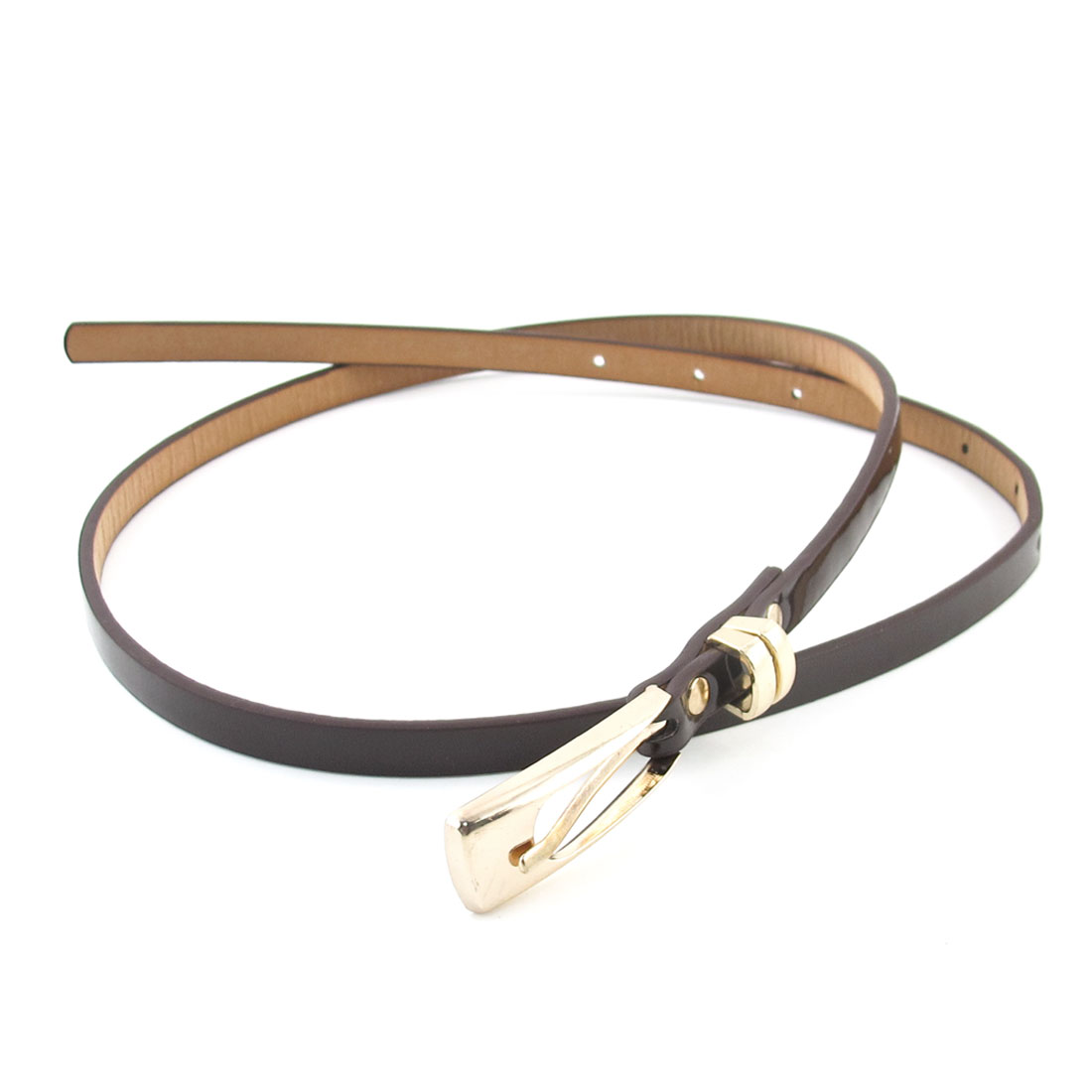Single Pin Metal Buckle Dark Brown Faux Leather Waist Belt for Lady