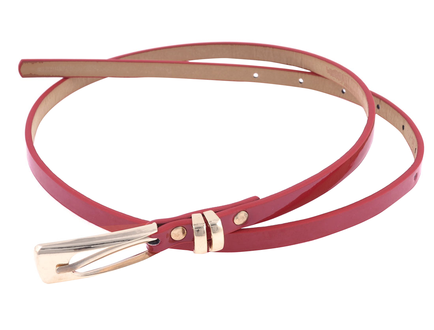 Red Adjustable One Pin Buckle Fuax Leather Slender Waist Belt for Ladies