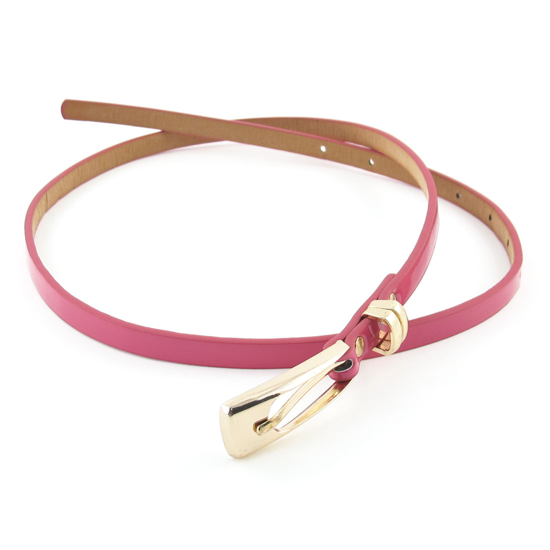 Single Pin Metal Buckle Fuchsia Faux Leather Waist Belt for Lady