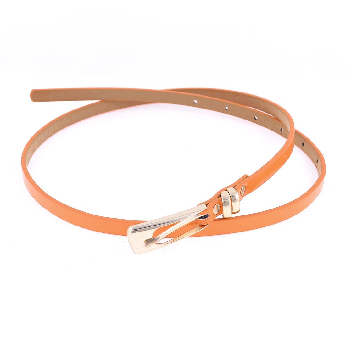 Orange Metal One Pin Buckle Fuax Leather Slender Slim Waist Belt for Women
