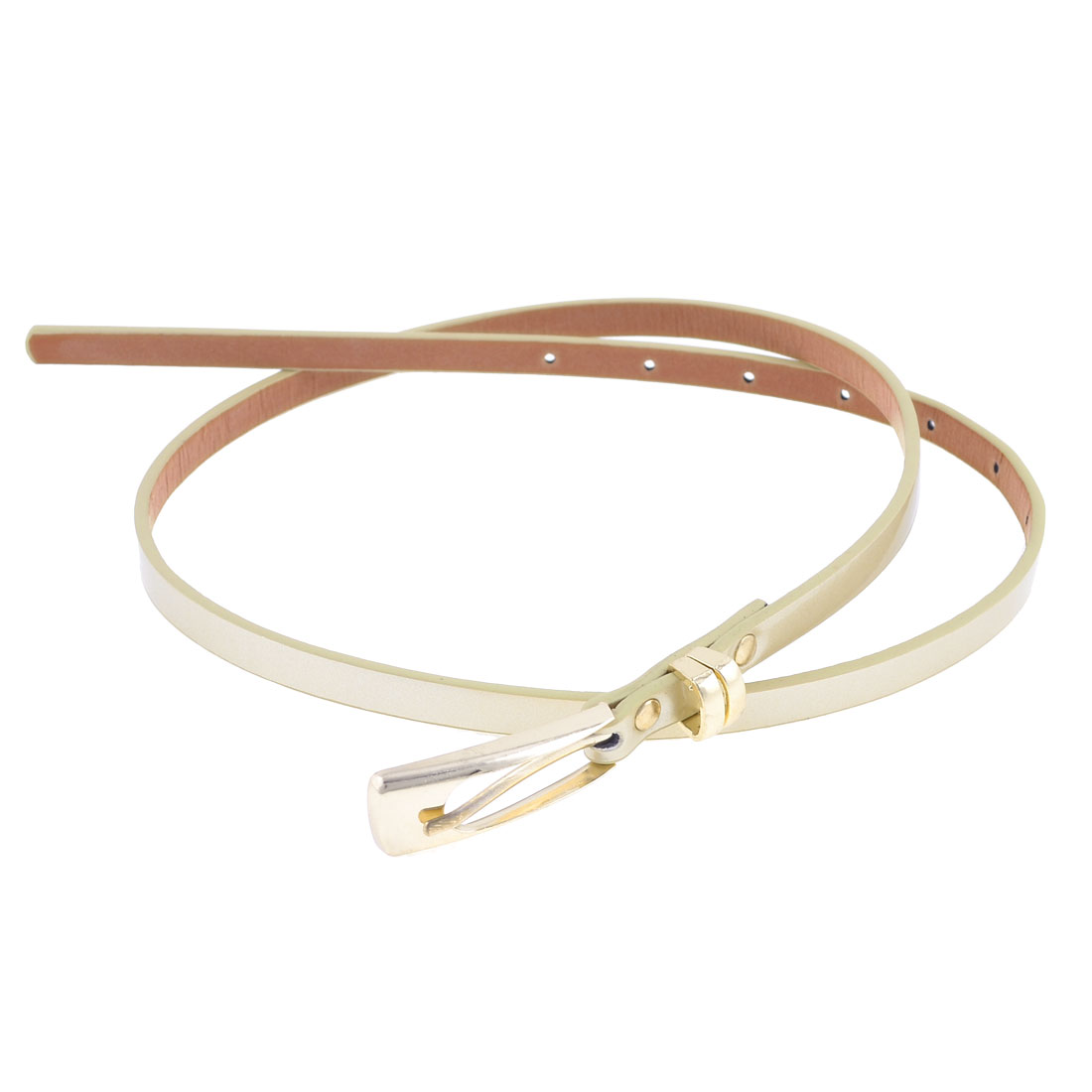 Light Khaki One Pin Buckle Fuax Leather Slender Waist Belt for Women