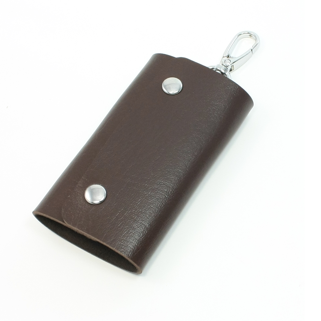 Dark Brown Retangle Design Faux Leather Keychain Key Bag Case Holder