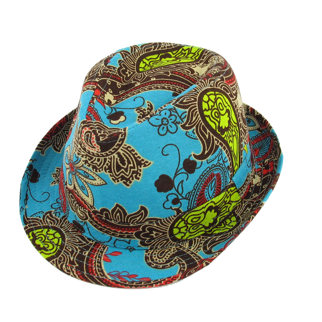Summer Beach Paisley Pattern Green Brown Fedora Trilby Hat Cap for Men Lady