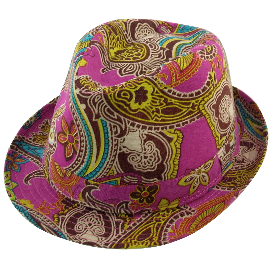 Summer Outdoors Paisley Pattern Fuchsia Fedora Trilby Hat Cap for Men Lady