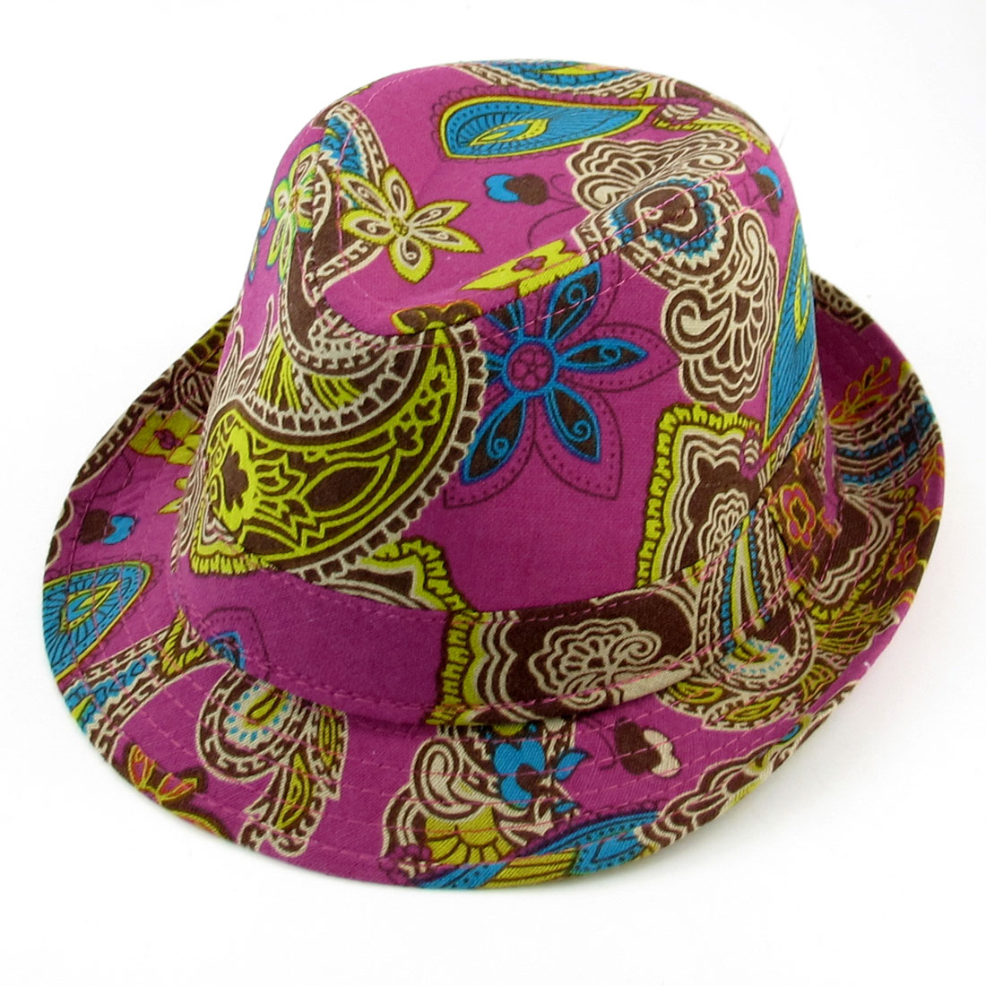 Summer Outdoors Paisley Pattern Fuchsia Fedora Trilby Hat Cap for Children