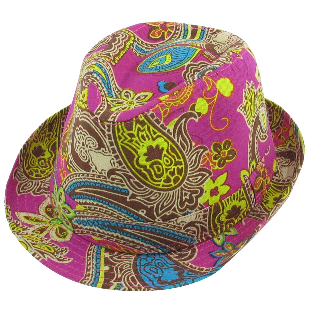 Men Women Summer Outdoors Paisley Pattern Fuchsia Fedora Trilby Hat Cap