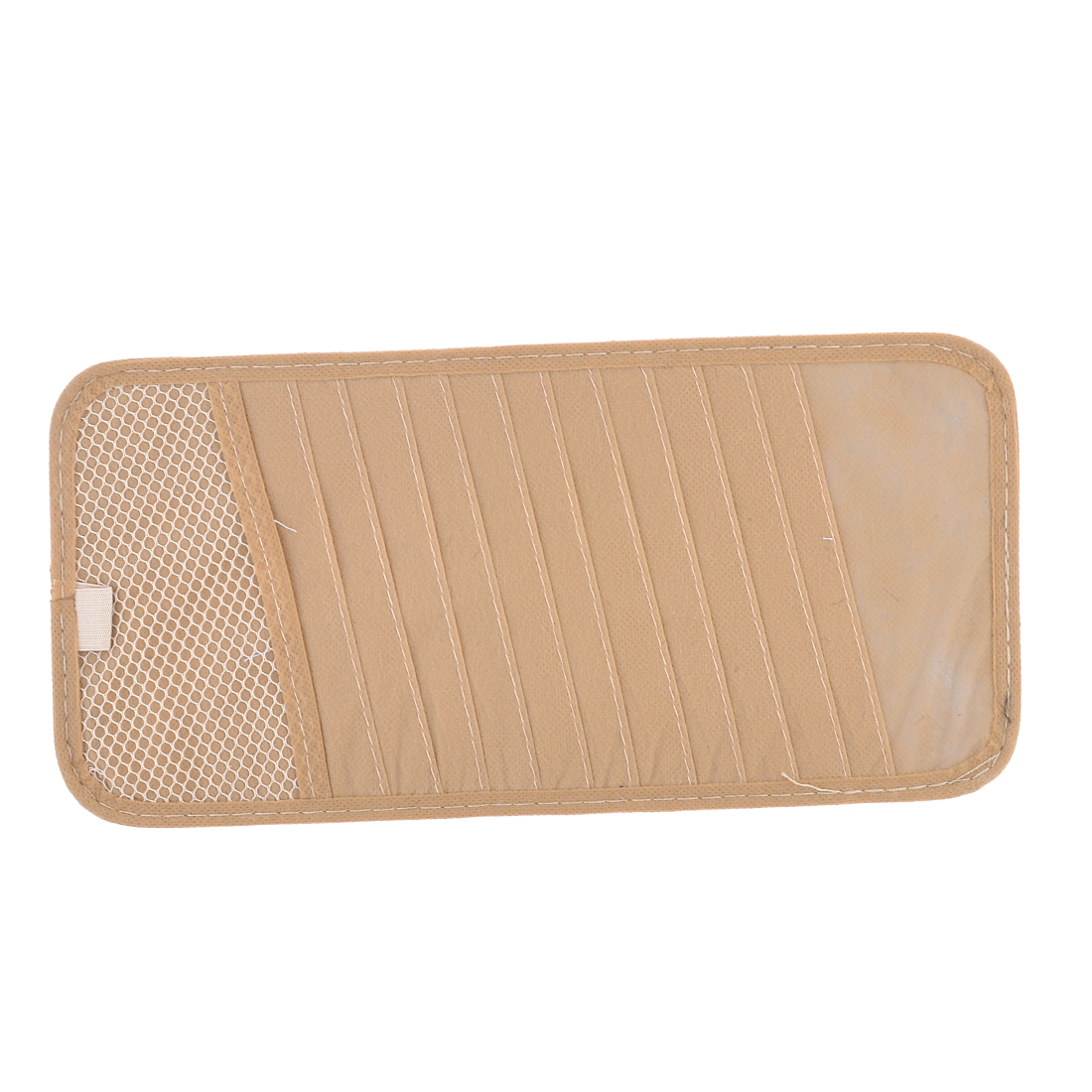Retangle Shaped Elastic Band Visor CD Ticket Cards Holder Storage Beige for Car