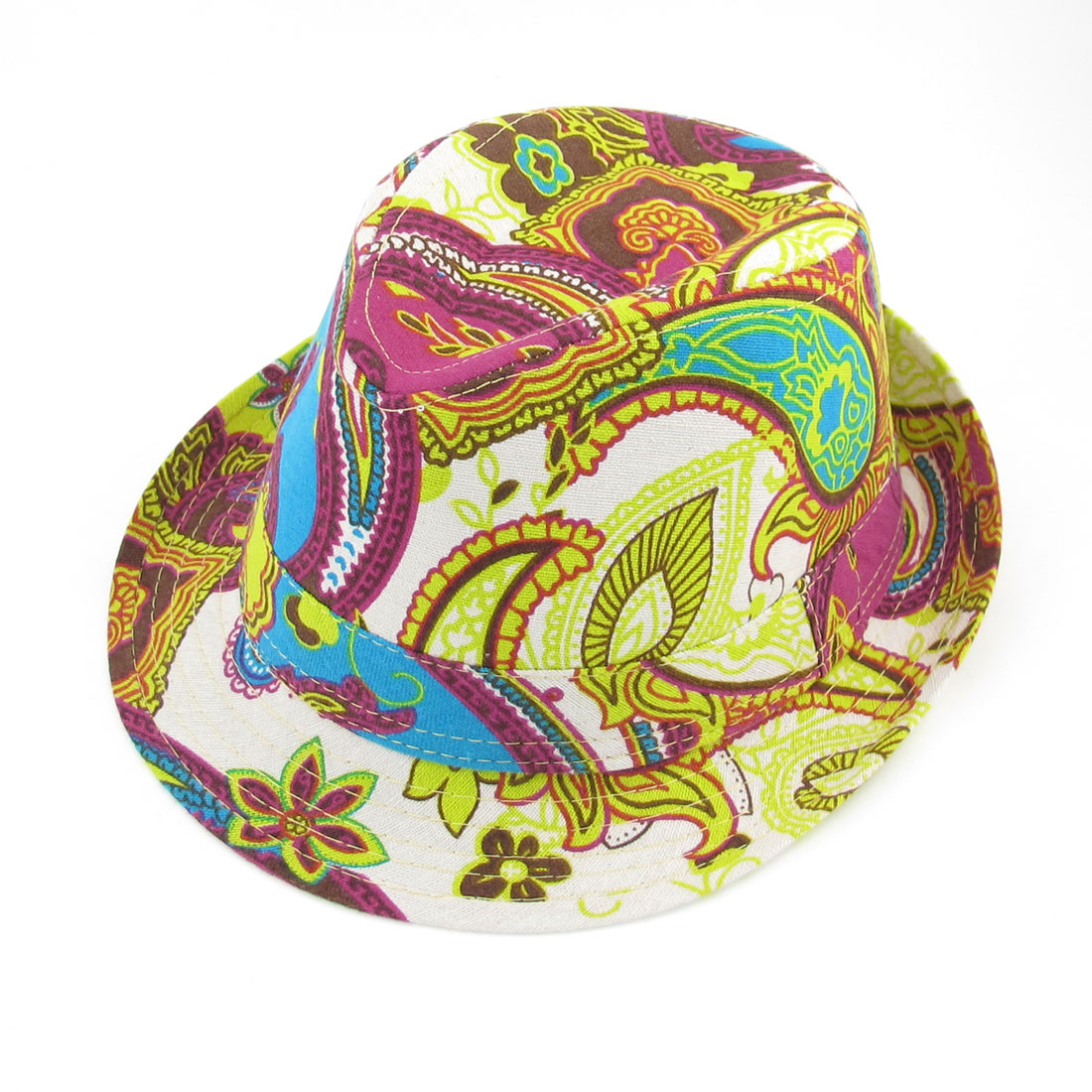 Summer Outdoors Paisley Print Yellow White Trilby Hat Cap for Men Lady