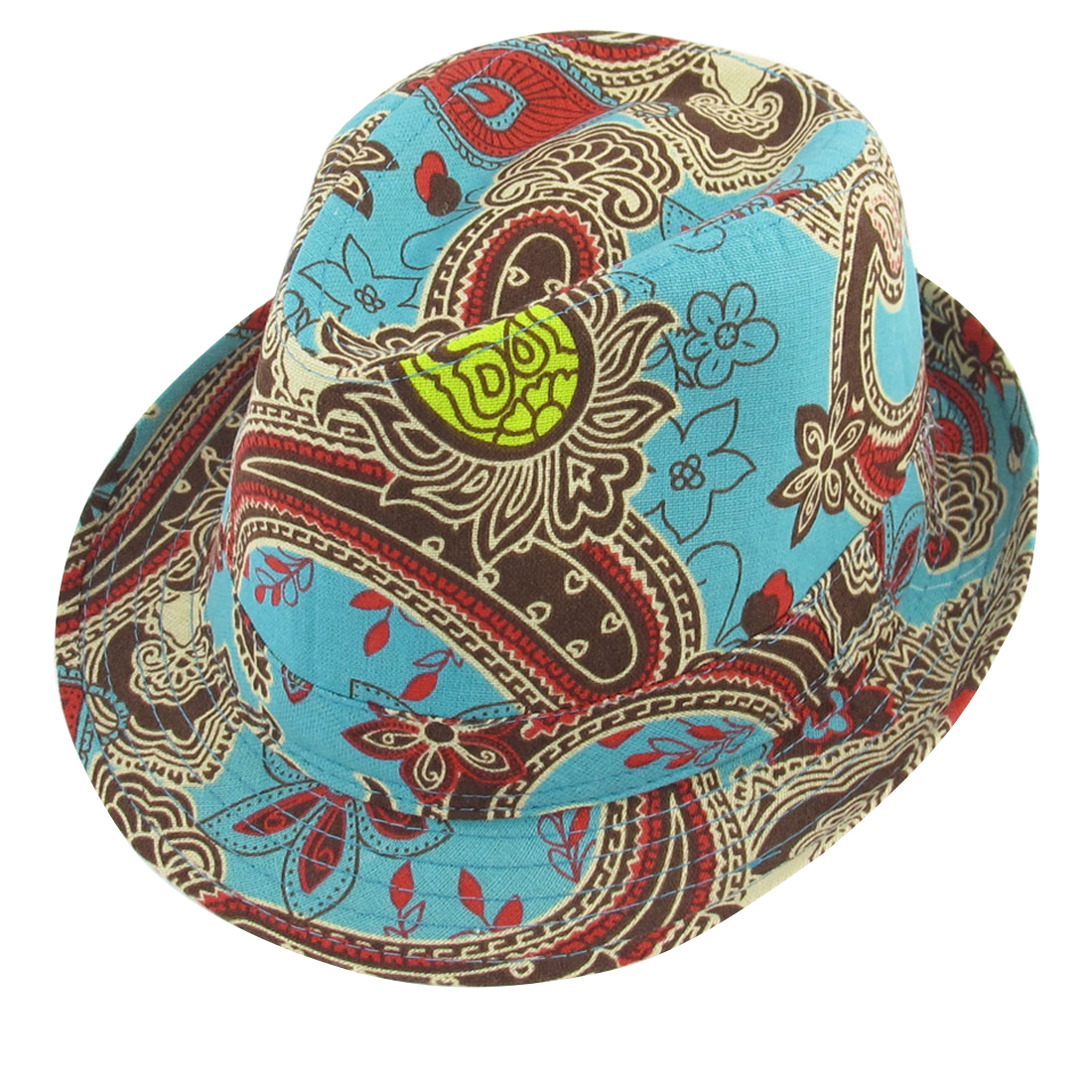 Summer Outdoors Paisley Pattern Green Red Fedora Trilby Hat Cap for Men Lady