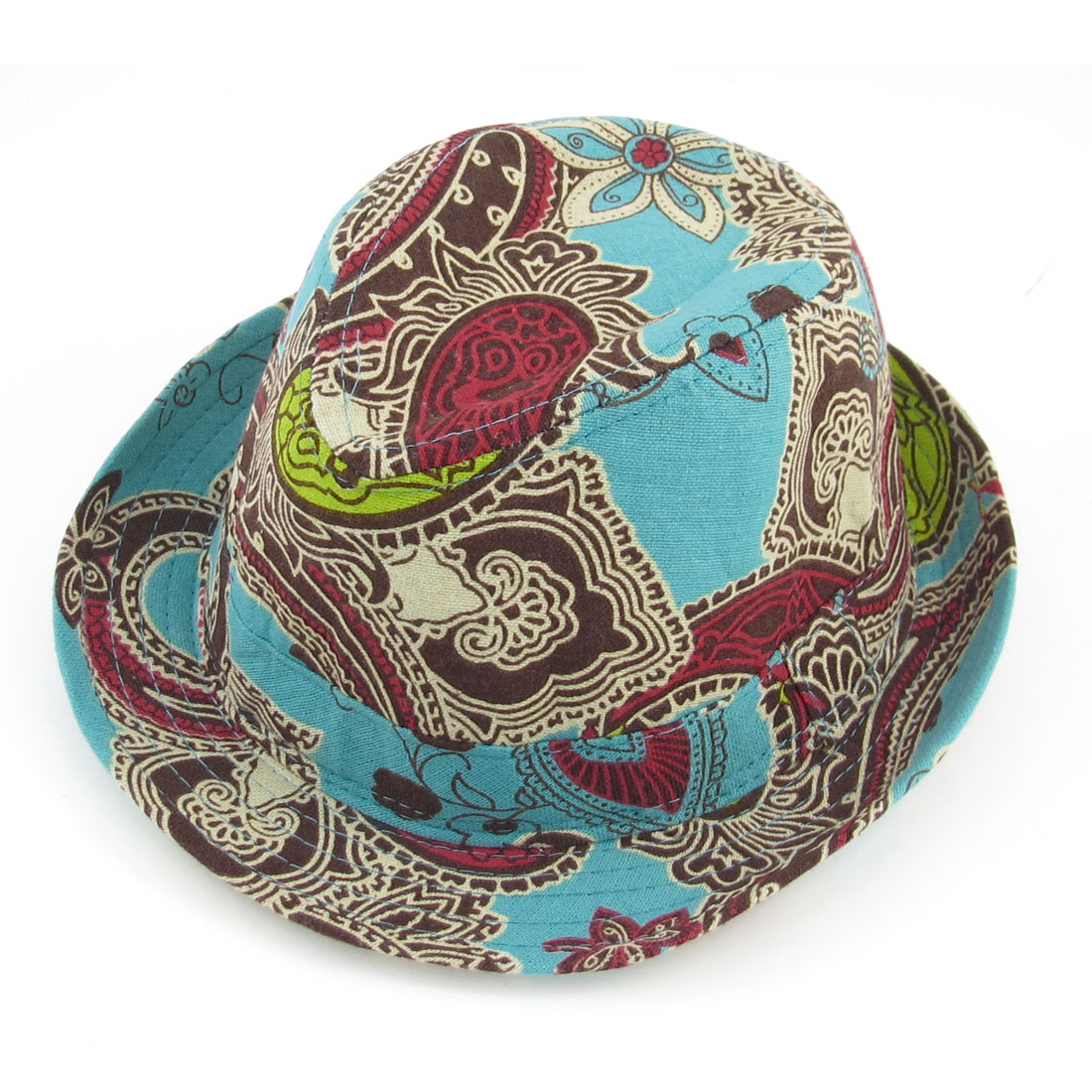Summer Outdoors Paisley Print Green Brown Fedora Trilby Hat Cap for Men Lady