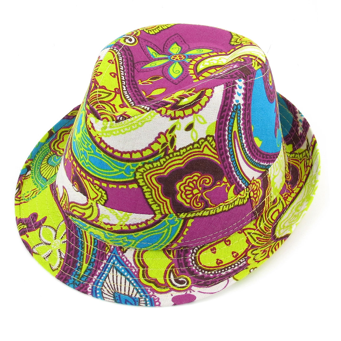 Men Lady Summer Outdoors Paisley Pattern Blue Yellow Fedora Trilby Hat Cap