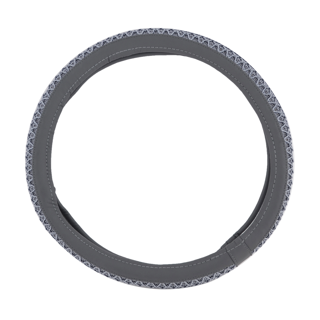 "Cars 15"" Dia Nylon Knitted Style Antislip Steering Wheel Sleeve Cover Gray"