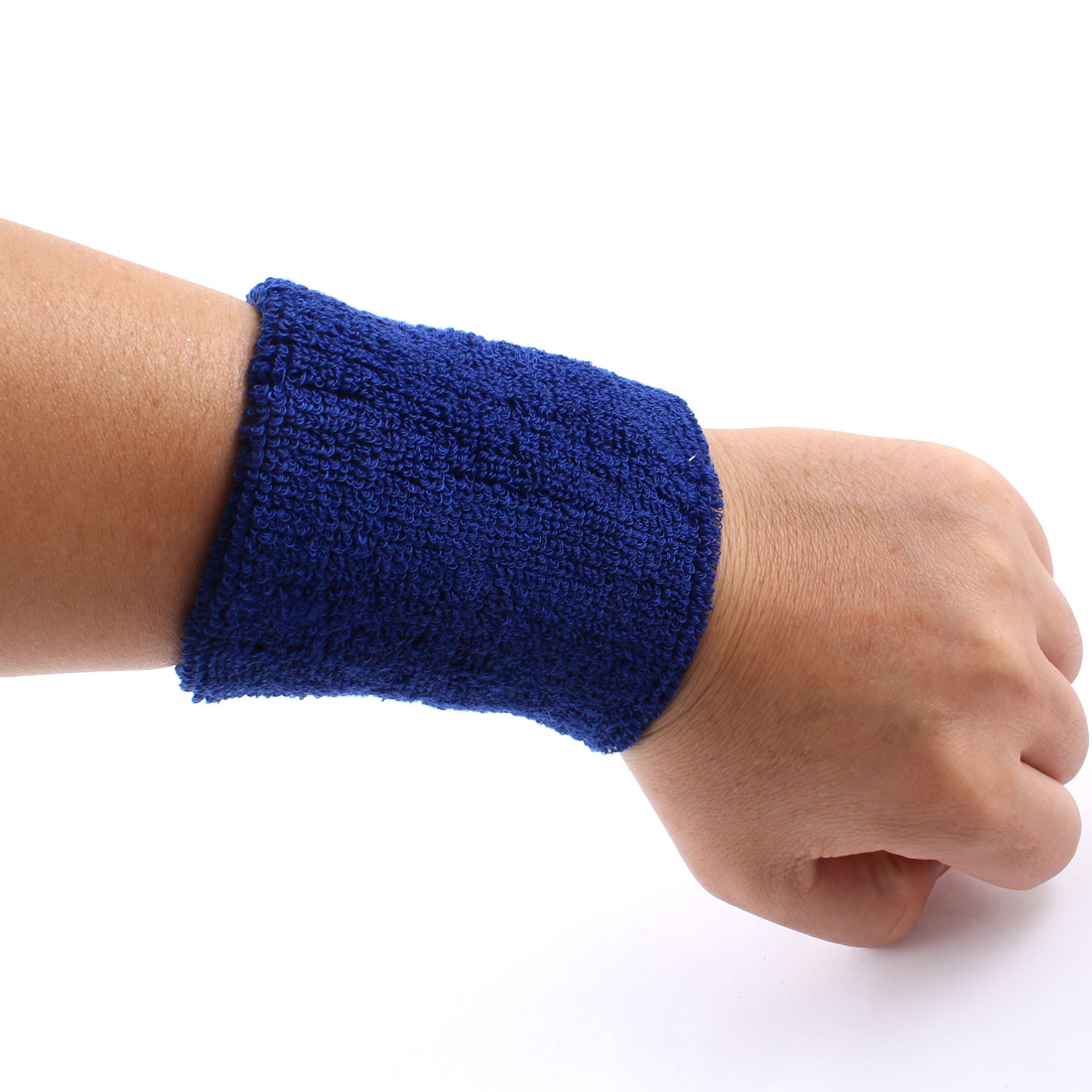 Blue Terrycloth Stretch Wristband Stadium Sports Wrist Support