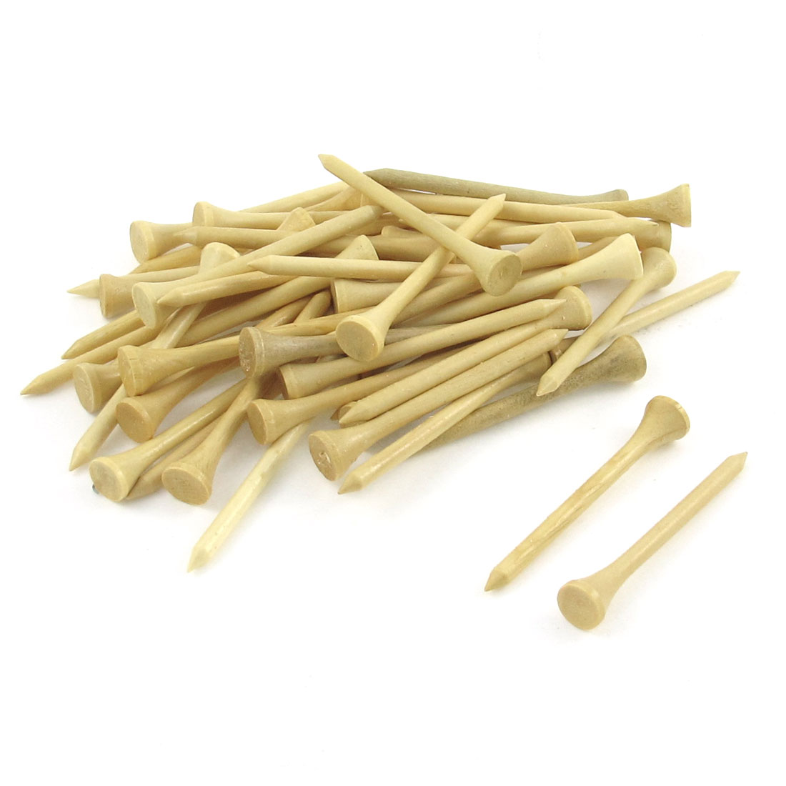 "50 Pcs Wooden Beige Nail Shaped Golf Tee 2.7"" Length"