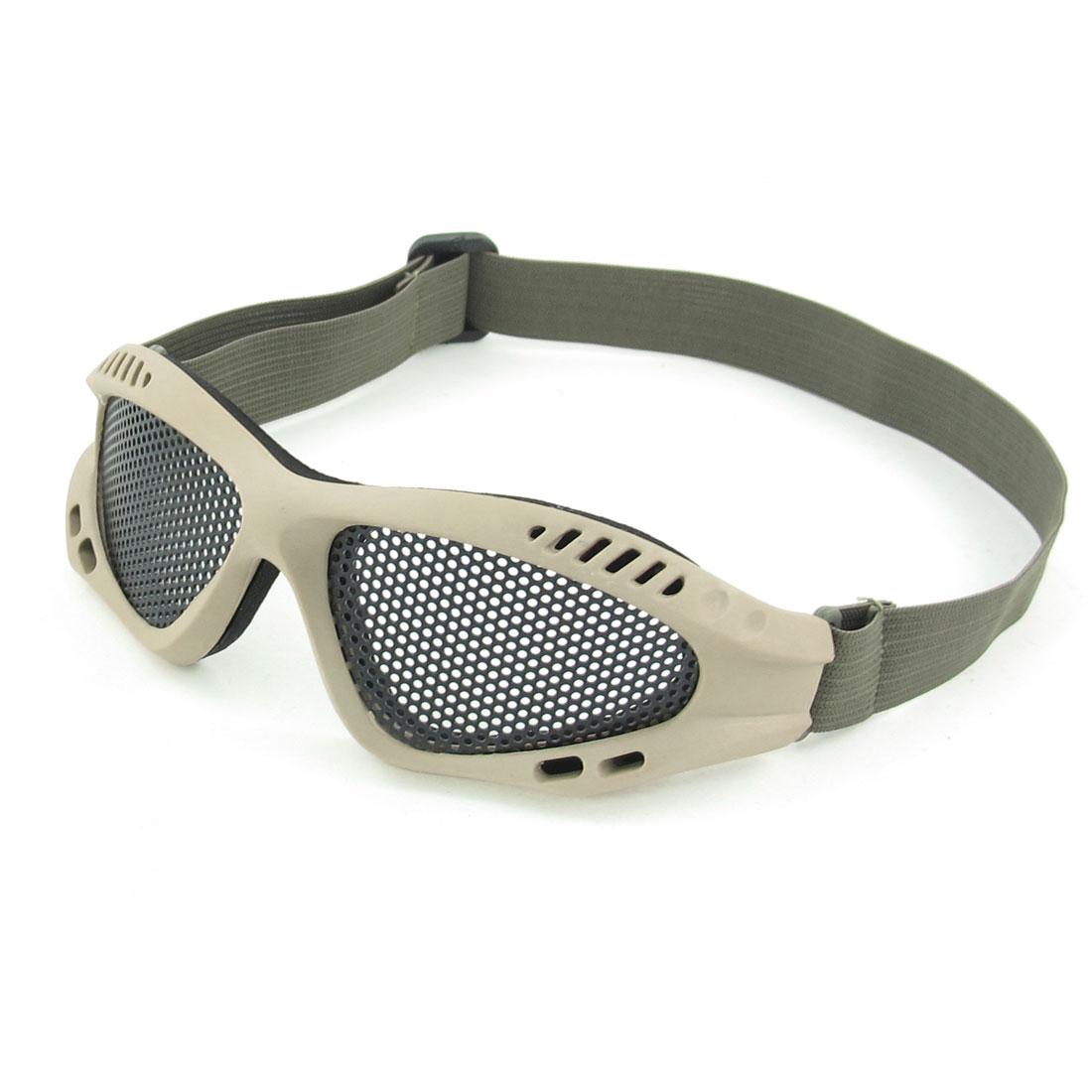 Unisex Black Triangular Net Shape Lens Adjustable Band Mesh Goggles